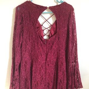Red lace long sleeve /shorts romper